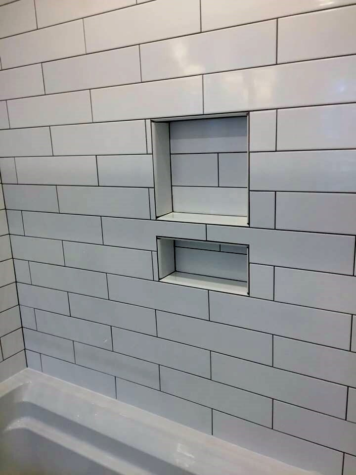 Recessed shower shelving from Richie Ballance Flooring & Tile in Wilson, NC