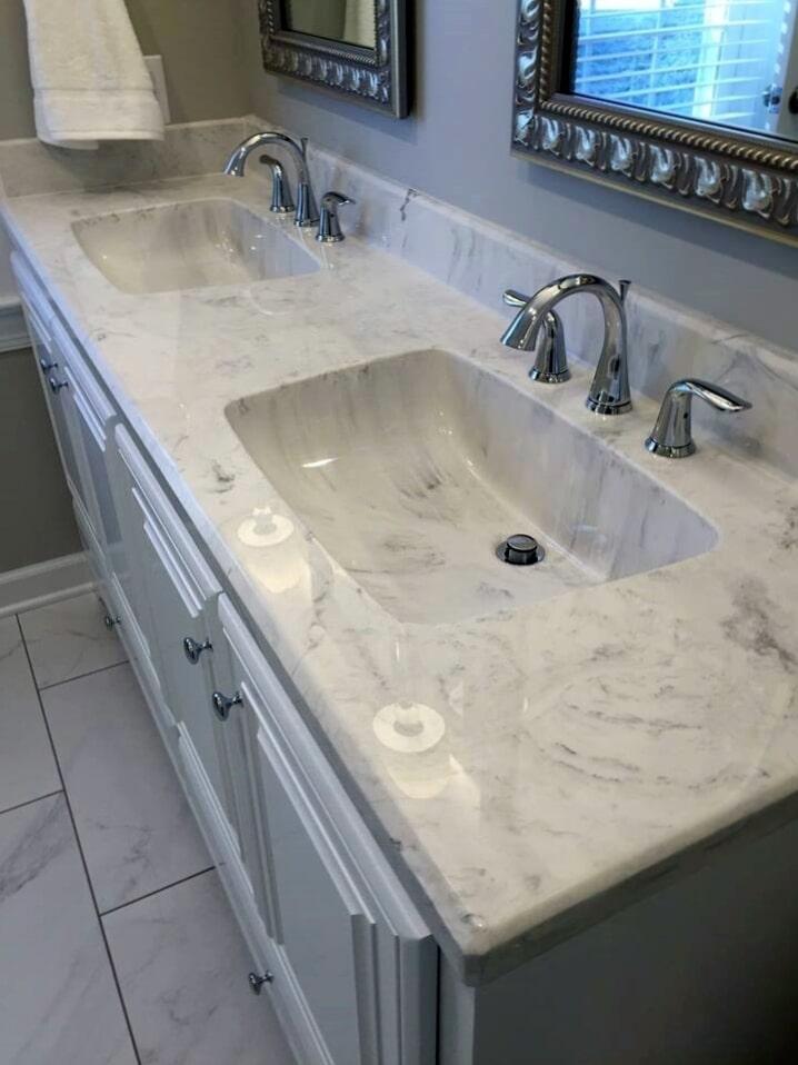 Stone bathroom countertop from Richie Ballance Flooring & Tile in Wilson, NC