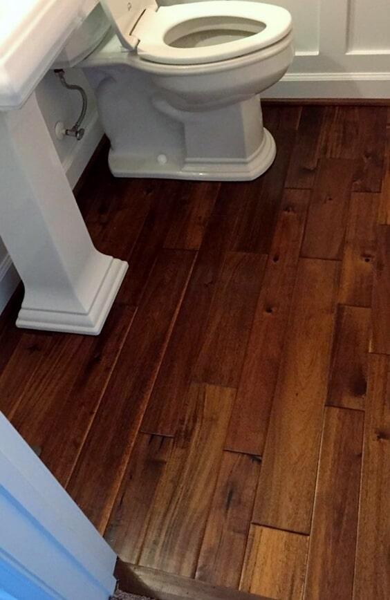 Wood-look bathroom flooring from Richie Ballance Flooring & Tile in Wilson, NC