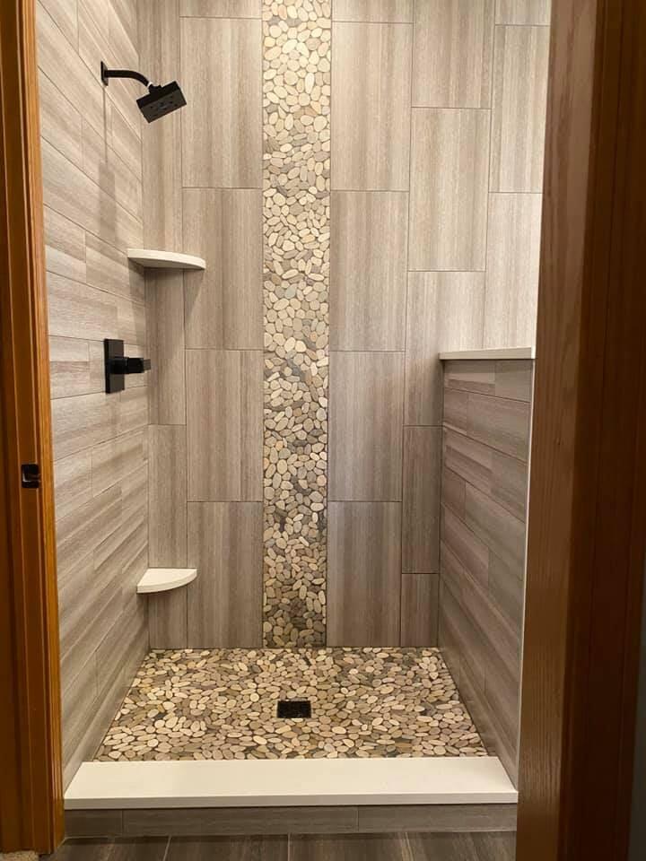 Pebble tile shower in Lake Geneva, WI from Anderson Tile & Carpet