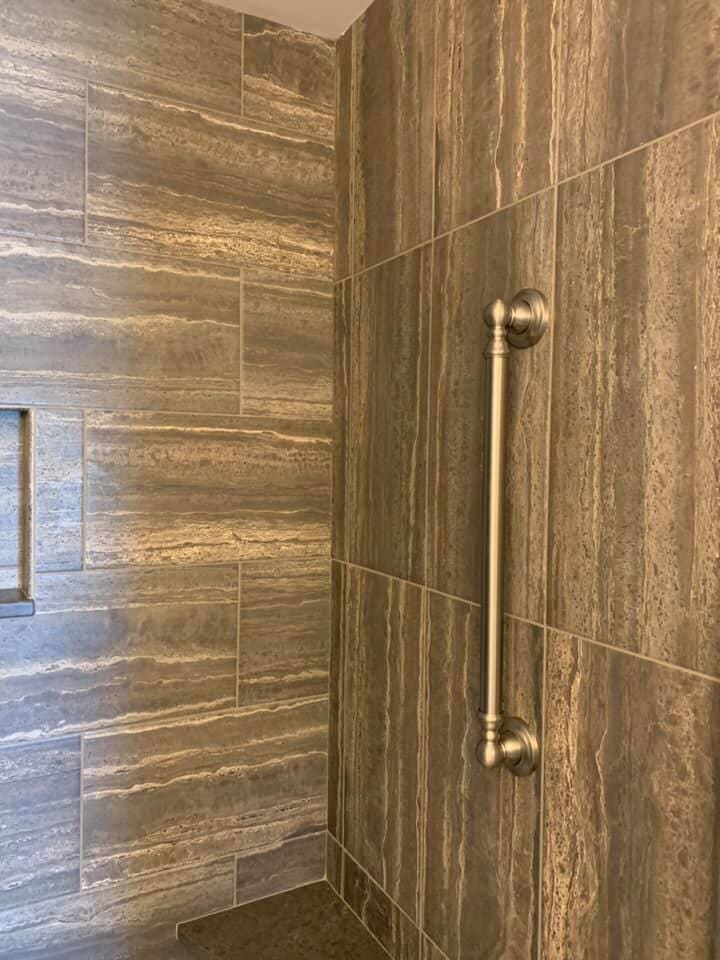 Natural look tile shower in Fox Lake, IL from Anderson Tile & Carpet
