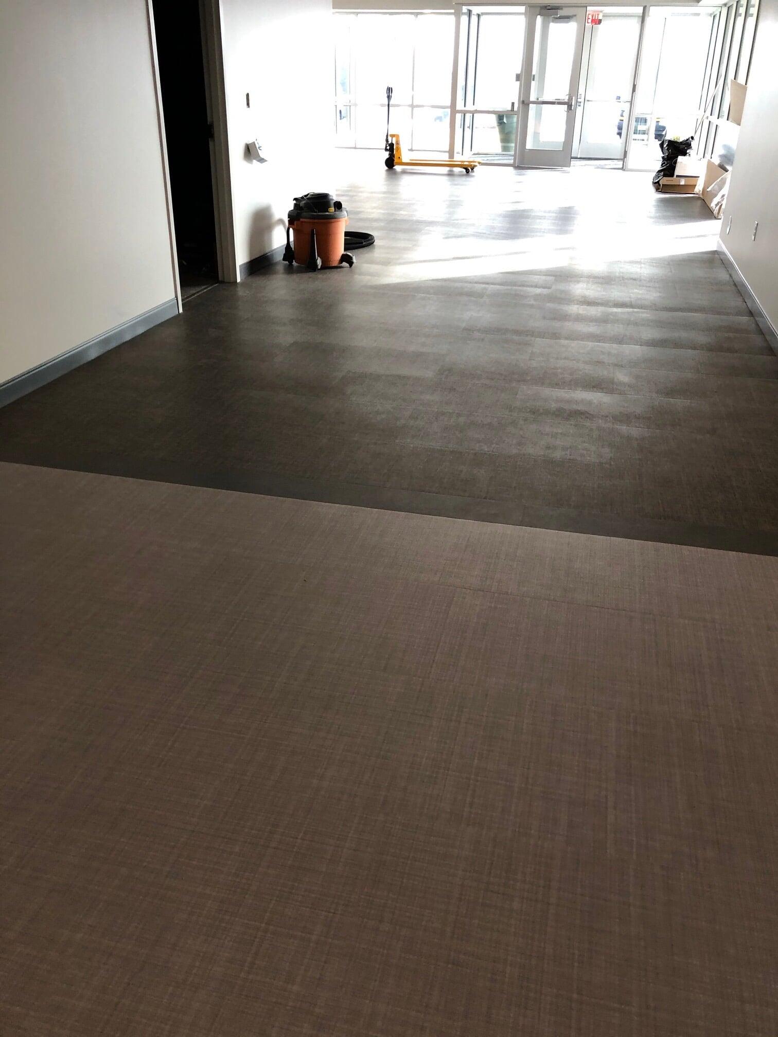Commercial flooring transition in  from Barrington Carpet & Flooring Design