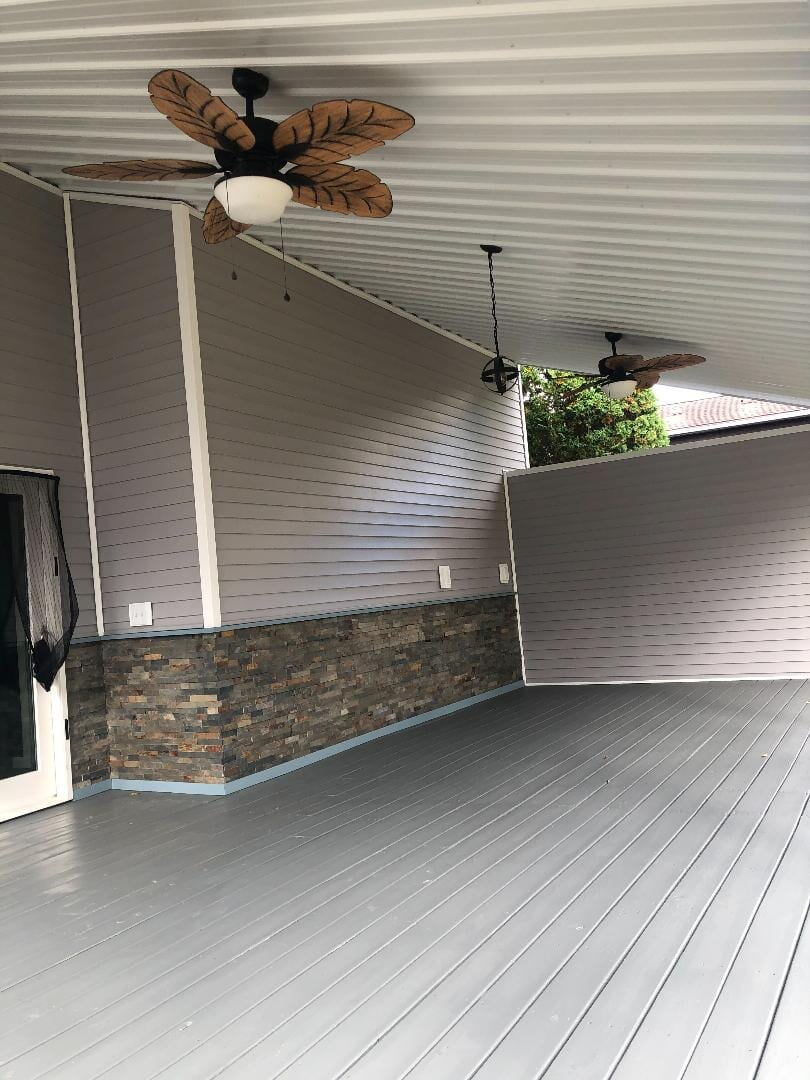 Ledger Stone Installation and Benjamin Moore Deck Paint by Decorator's Choice