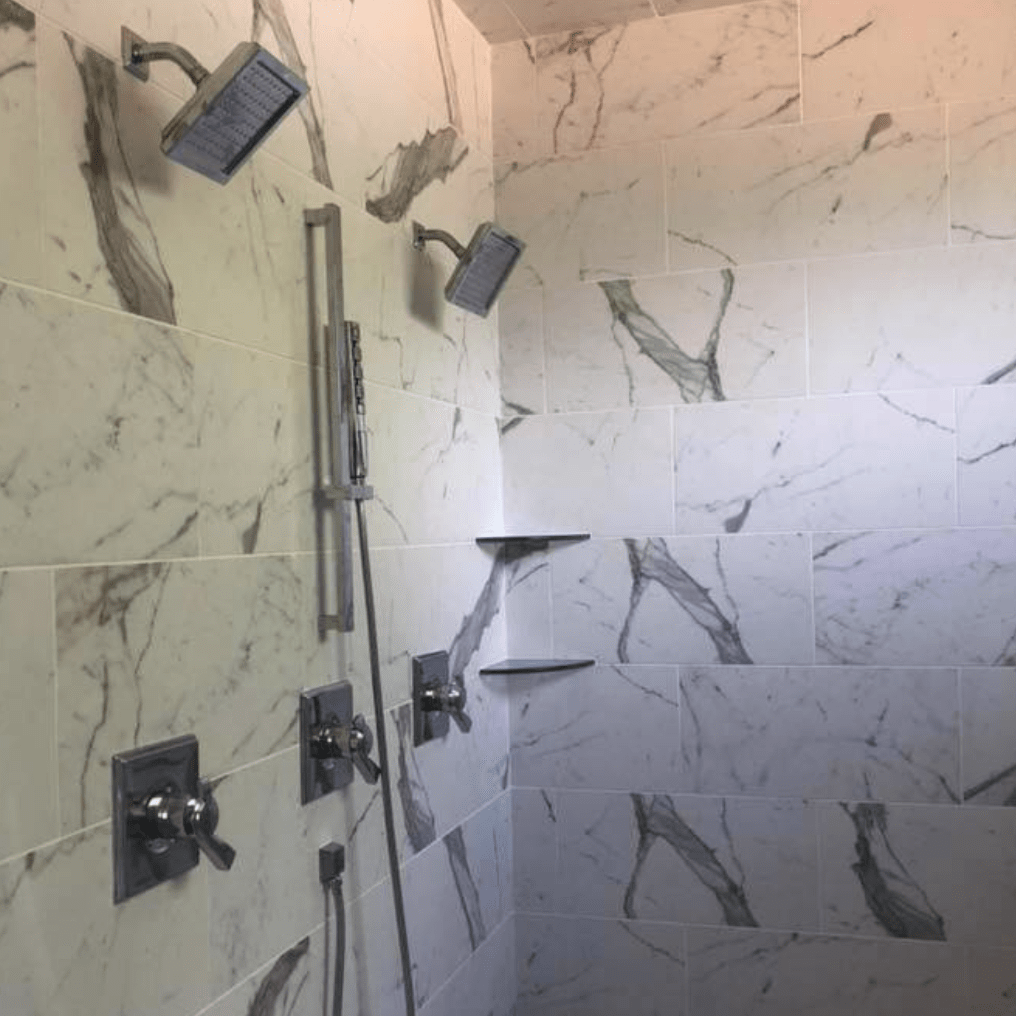 Marble tile shower in Southaven, MS from DeSoto Floor Covering & Interiors