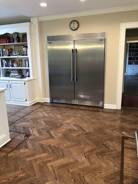Herringbone hardwood flooring in Texarkana, TX from Carter Adams Flooring