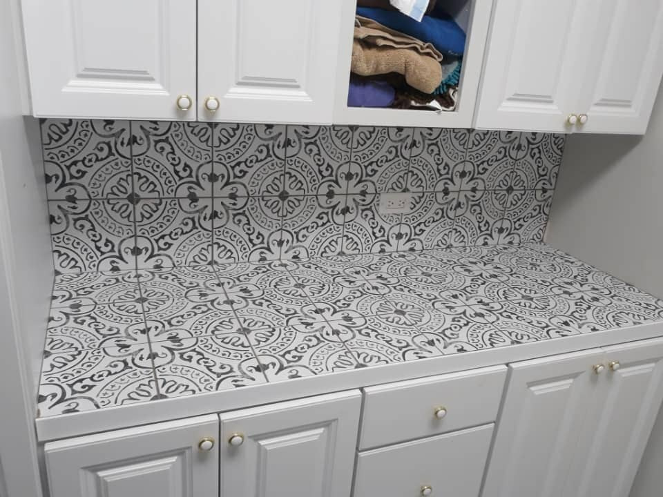 Mosaic tile countertop and backsplash in Twin Lakes, WI from Anderson Tile & Carpet