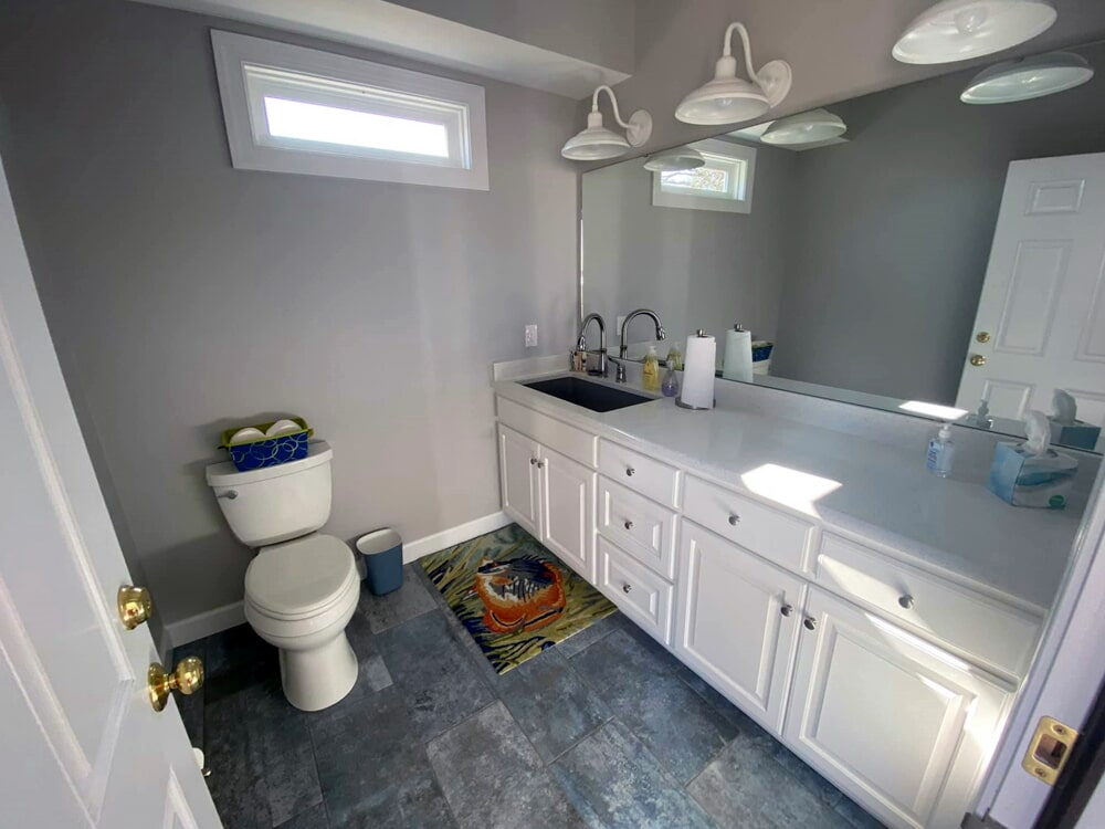 Modern guest bathroom in Wilson, NC from Richie Ballance Flooring & Tile