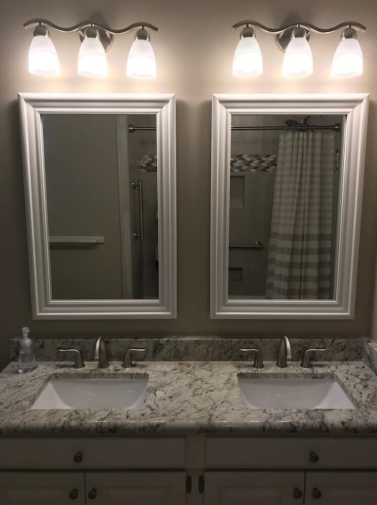 Dual bathroom mirrors in Wilson, NC from Richie Ballance Flooring & Tile