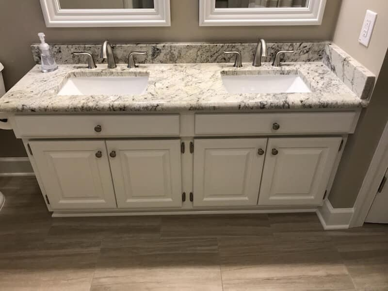 Beautiful bathroom vanity in Wilson, NC from Richie Ballance Flooring & Tile