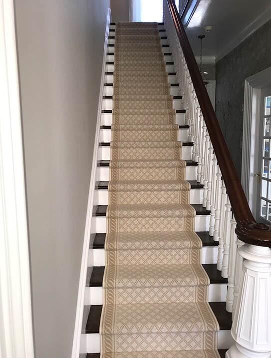 """""""Mahfouz"""" Custom stair runner in Franklin Lake, NJ from G. Fried Flooring & Design"""