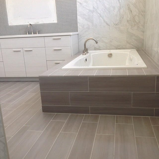 Bathroom tile and tub surround in Fort Collins, CO from JT Flooring