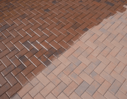 Before and after paver cleaning in Bradenton, FL from Manasota Flooring