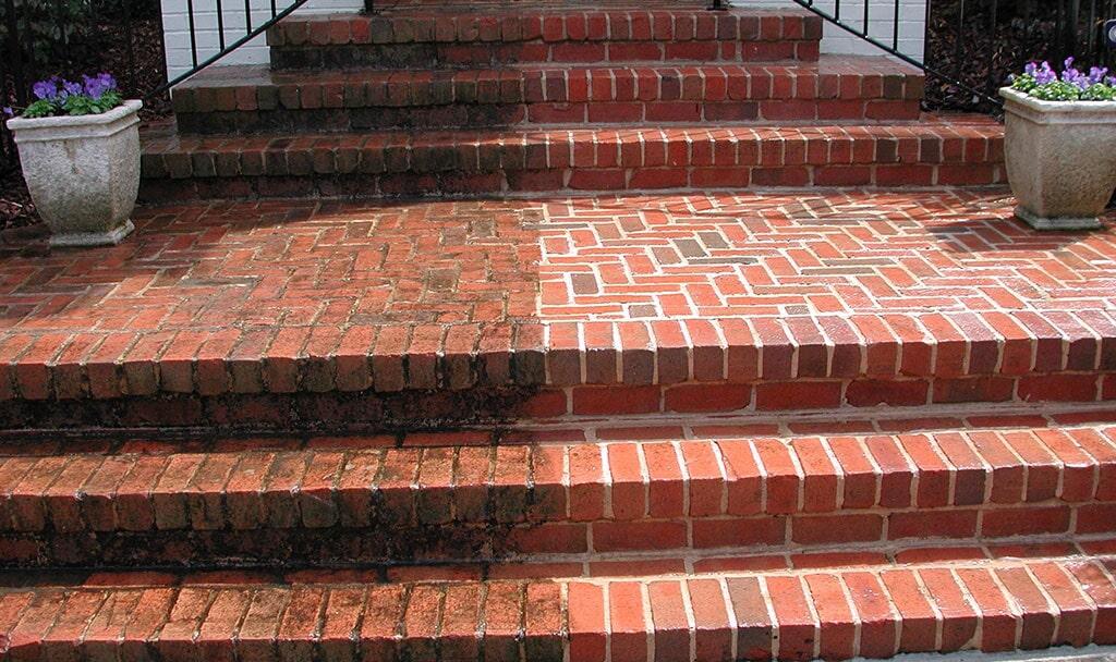 Brick stair cleaning in Bradenton, FL from Manasota Flooring