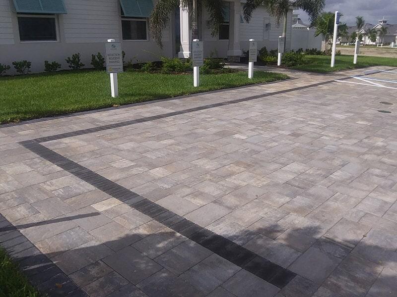 Custom brick paver parking area in Bradenton, FL from Manasota Flooring
