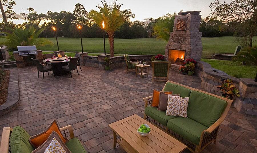 Custom outdoor fireplace in Sarasota, FL from Manasota Flooring