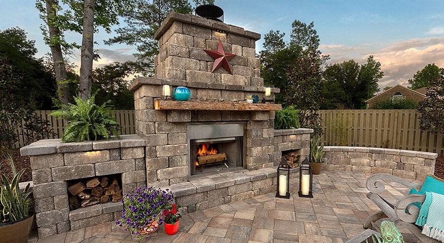 Beautiful outdoor fireplace in Bradenton, FL from Manasota Flooring
