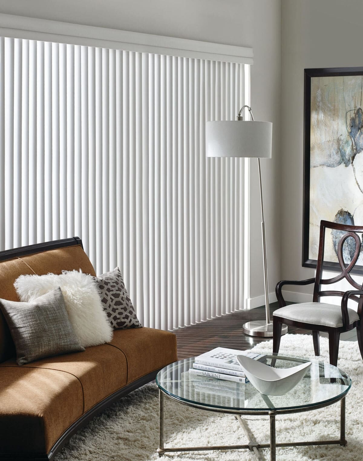 Hunter Douglas white verticals contemporary living room setting-min