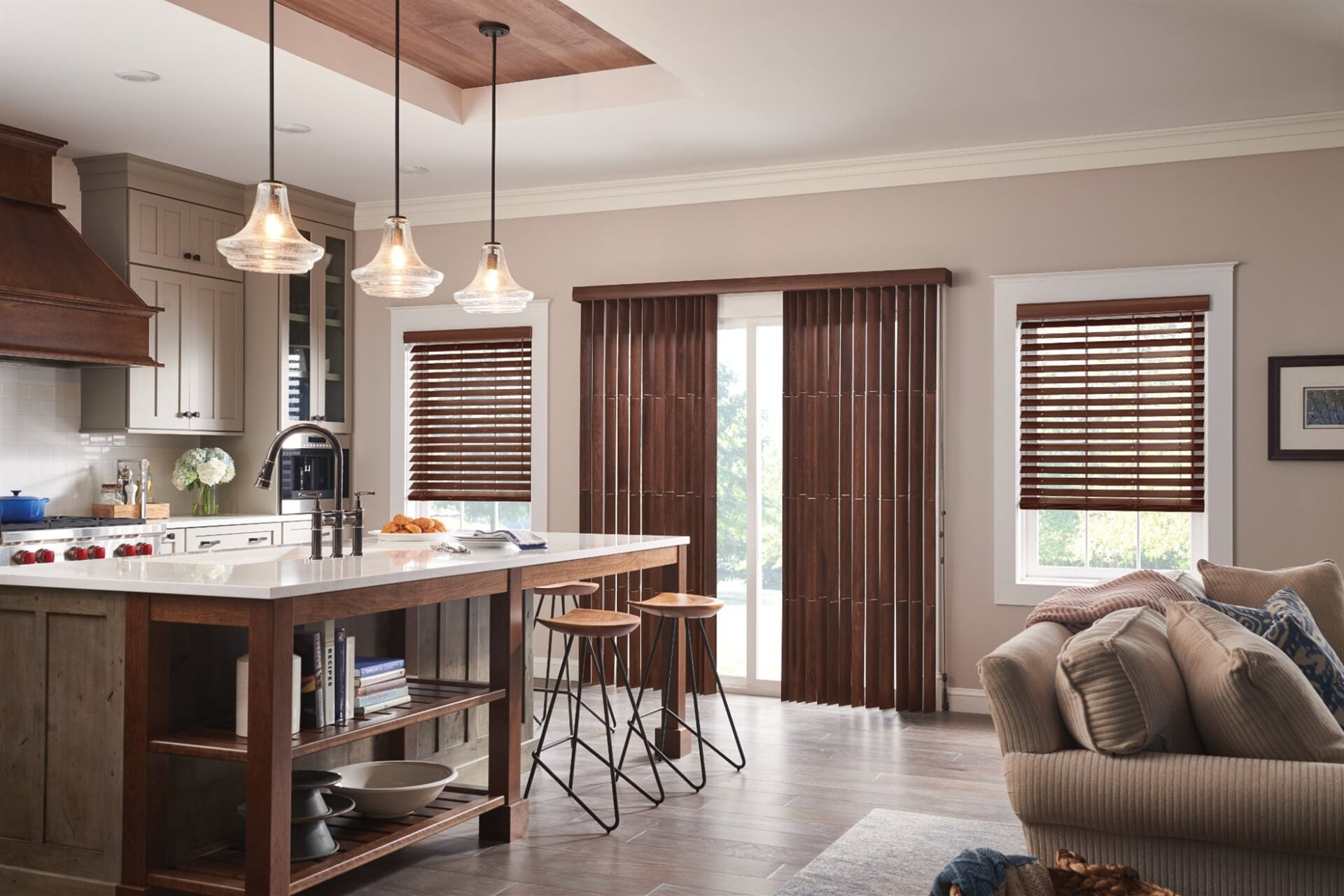 Graber brown wood vertical blinds-min
