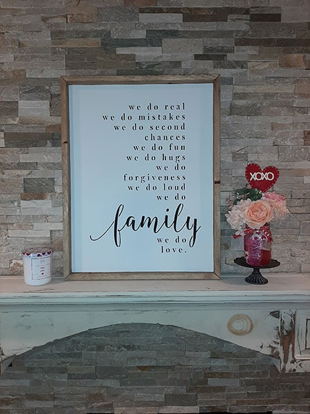 Family Sign ~ $45, Size ~ 25 x 20