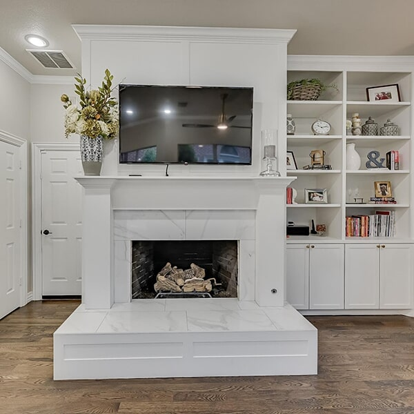 Updated mantle porcelain marble look