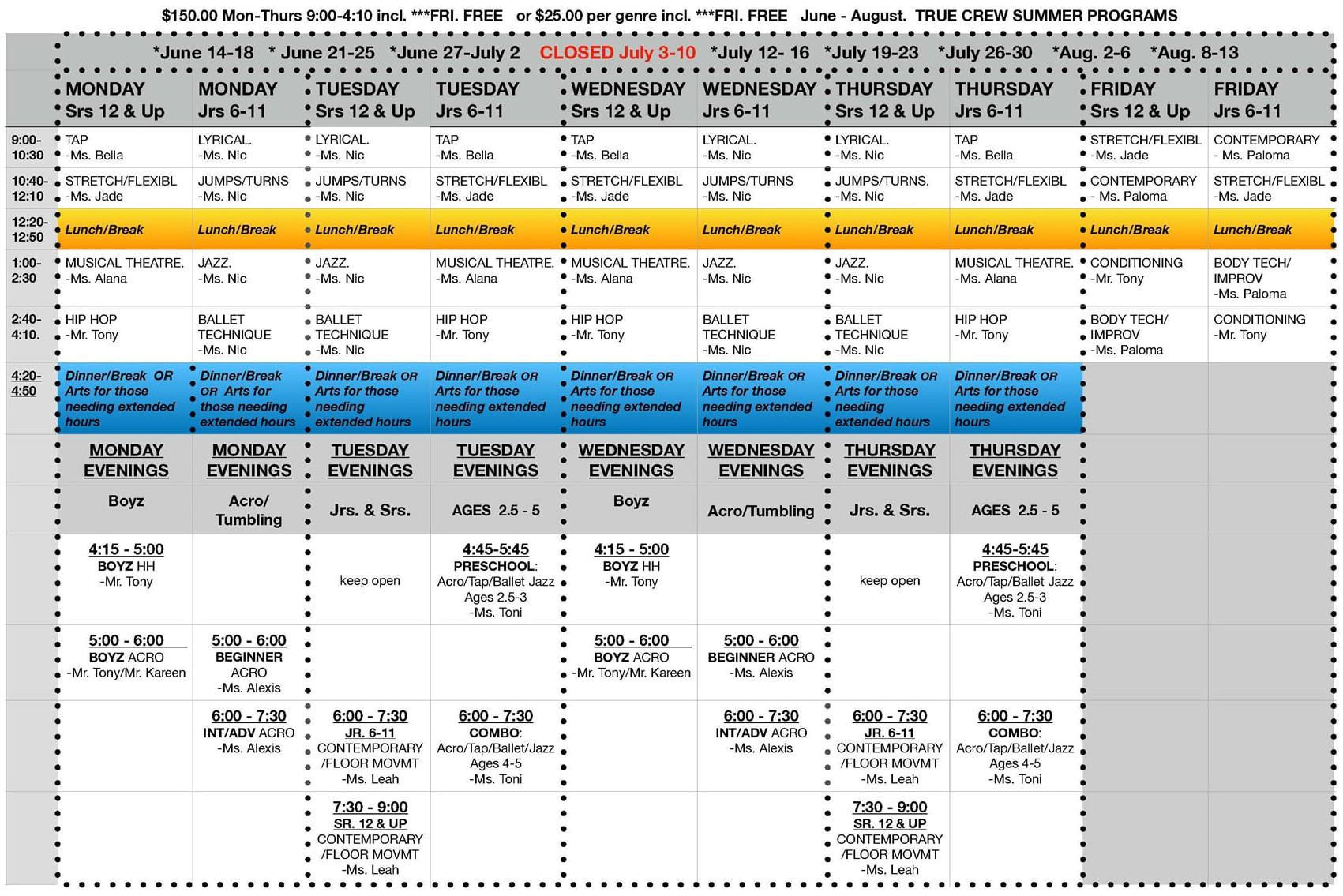 21 Summer Season Schedule