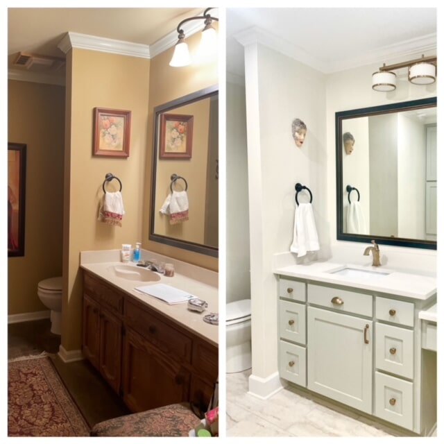 Before and after bathroom remodeling in Ascension Parish, LA from Marchand's Interior & Hardware