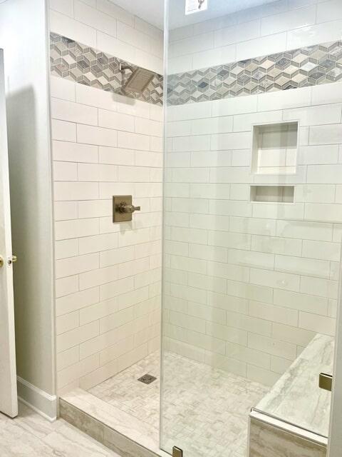 Subway tile shower in Prairieville, LA from Marchand's Interior & Hardware