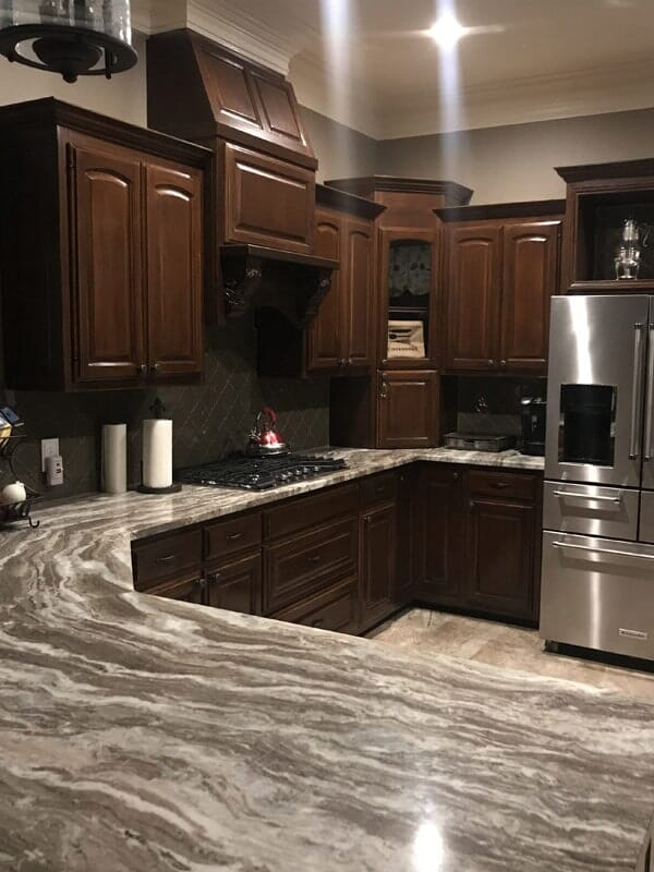 Dark wood cabinetry in Gonzales, LA from Marchand's Interior & Hardware