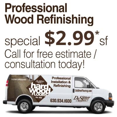 Wood floor refinishing sale in La Grange IL from Desitter Flooring