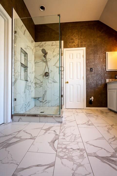 Modern shower installation in Lewisville, TX from Floor & Wall Design