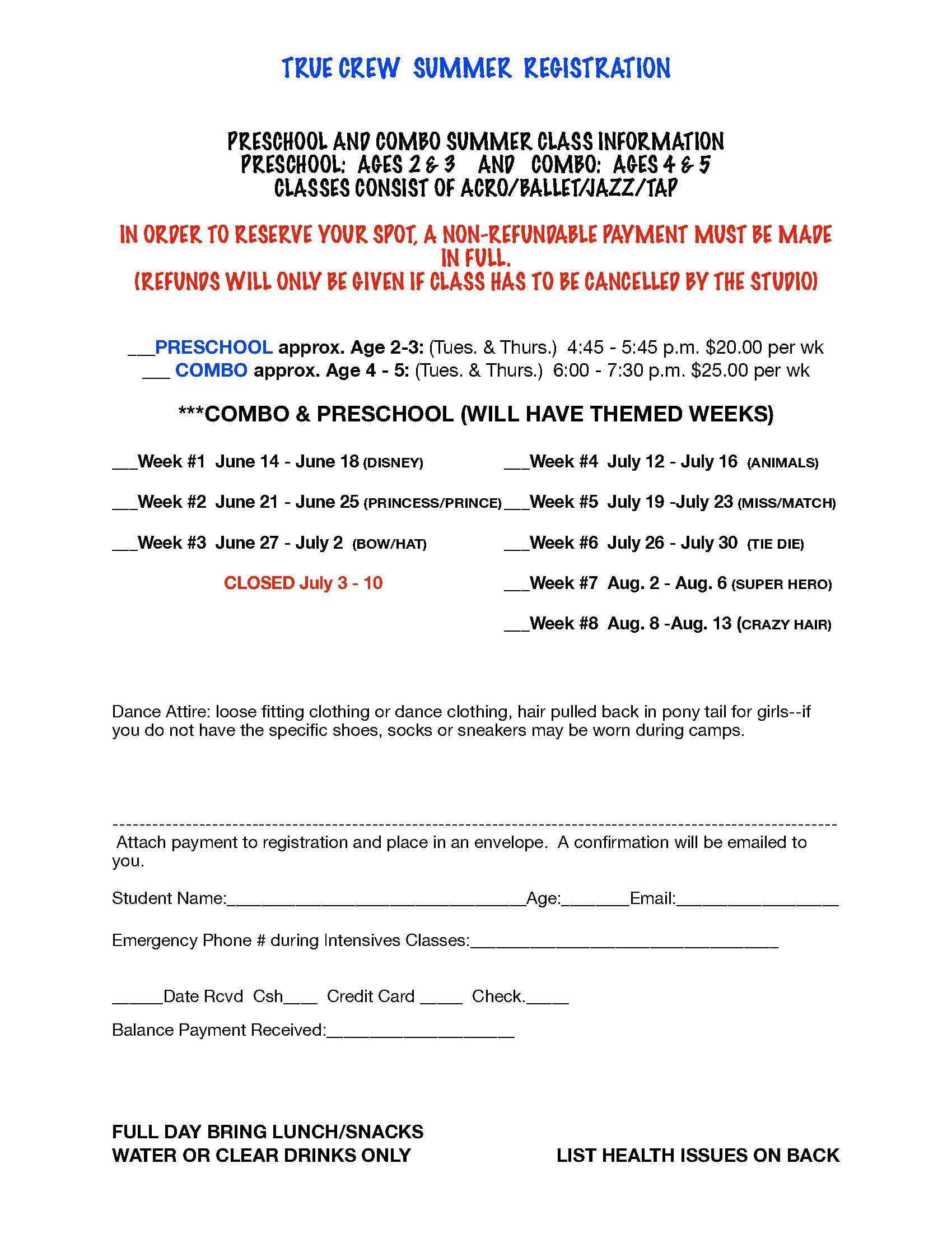 20-21 Summer Season Registration