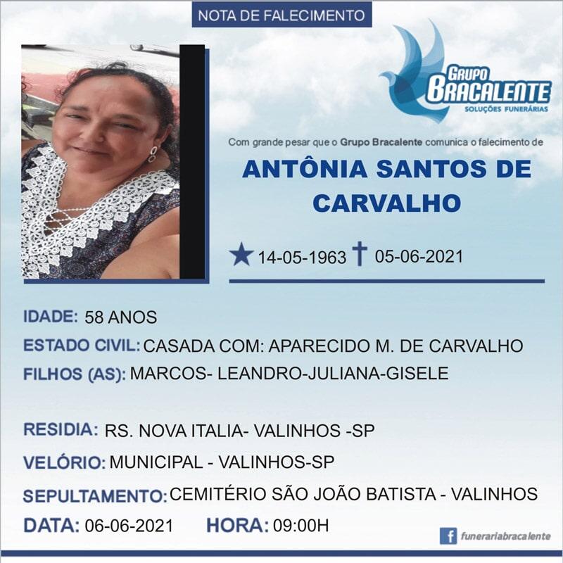 Antônia Santos de Carvalho   14/05/1963 - 05/06/2021