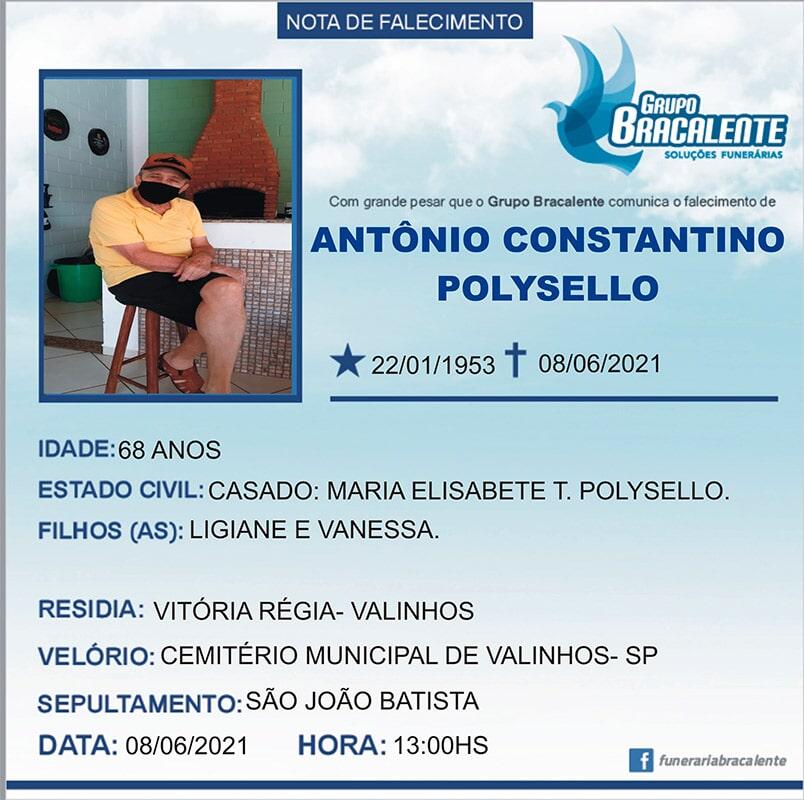 Antônio Constantino Polysello   22/01/1953 - 08/06/2021