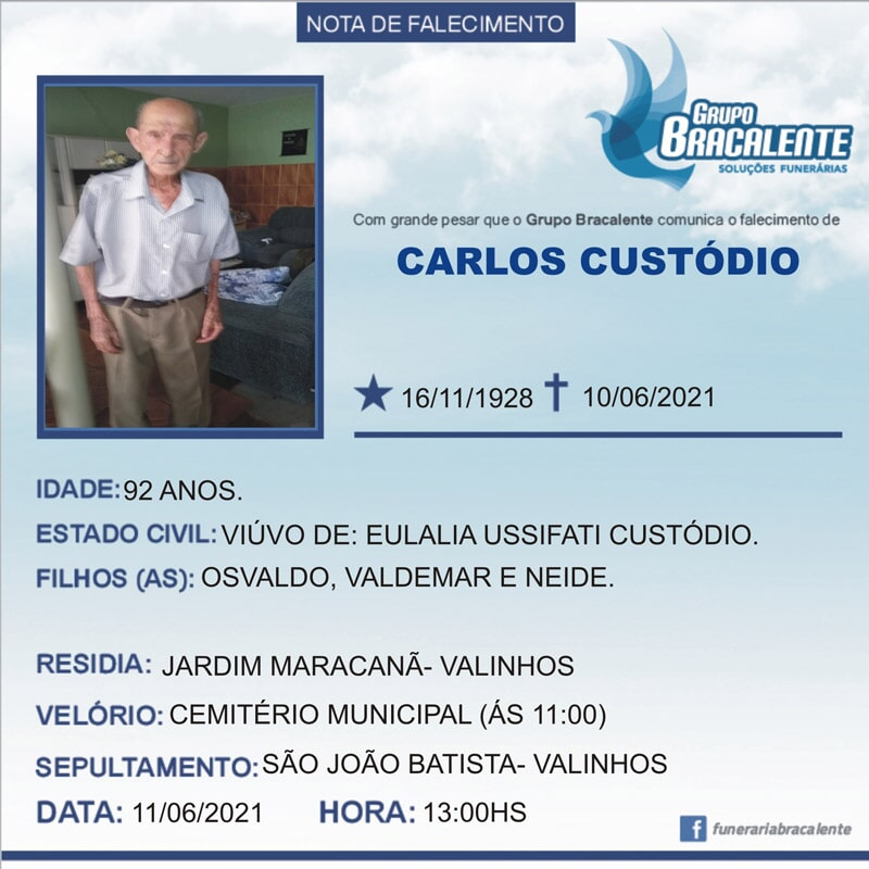 Carlos Custódio   16/11/1928 - 10/06/2021