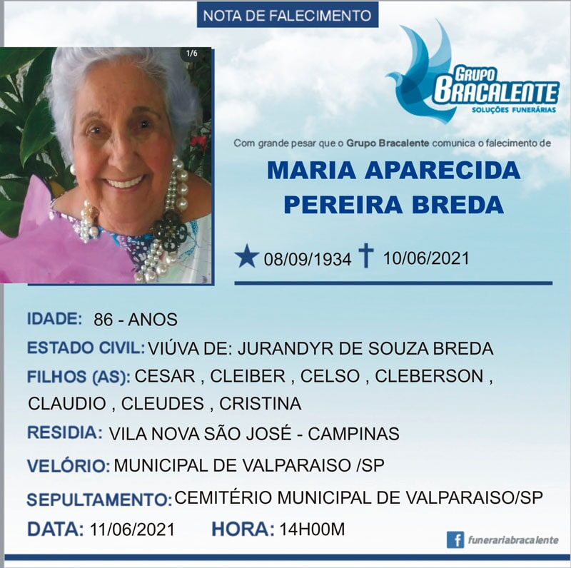 Maria Aparecida Pereira Breda   08/09/1934 - 10/06/2021