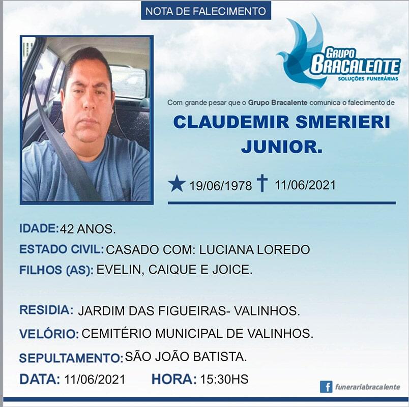 Claudemir Smerieri Junior   19/06/1978 - 11/06/2021