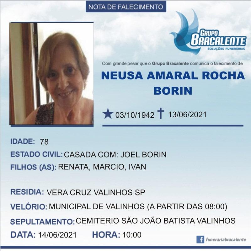 Neusa Amaral Rocha Borin   03/10/1942 - 13/06/2021