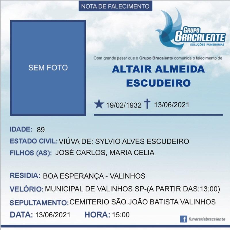 Altair Almeida Escudeiro   19/02/1932 - 13/06/2021