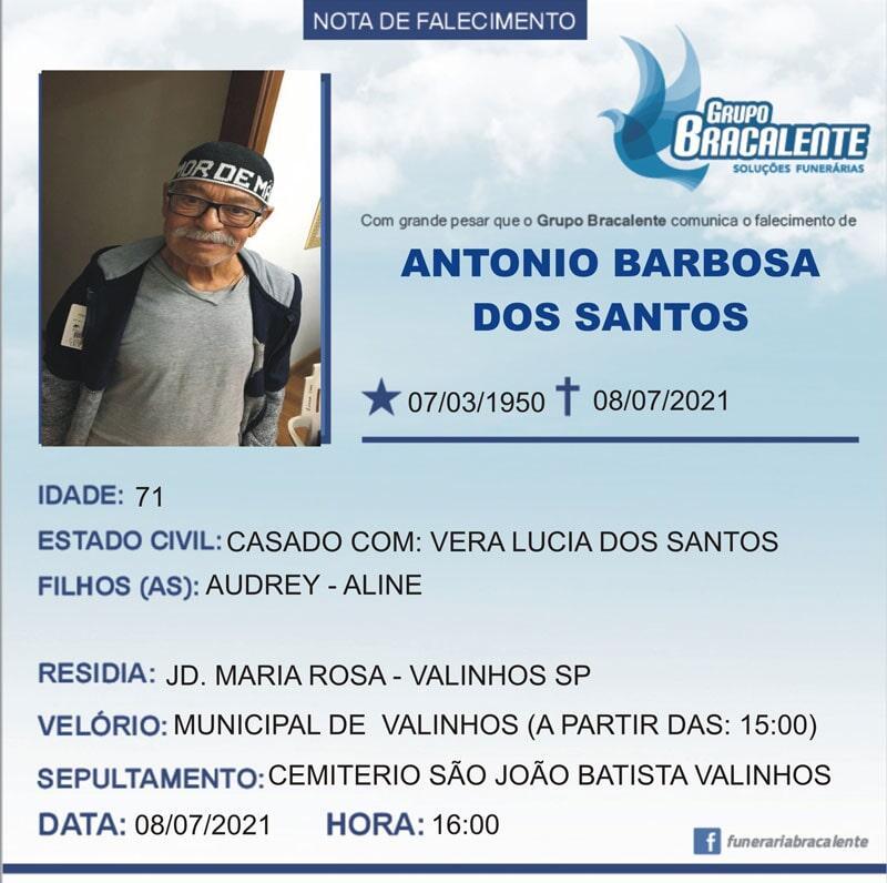 Antonio Barbosa dos Santos | 07/03/1950 - 08/07/2021