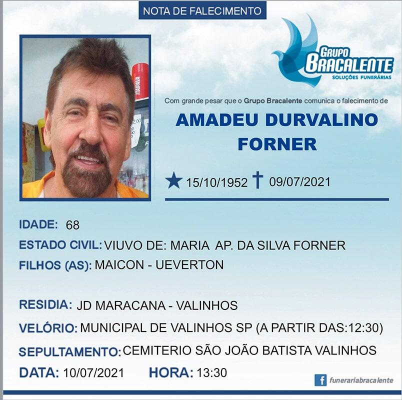 Amadeu Durvalino Forner | 15/10/1952 - 09/07/2021