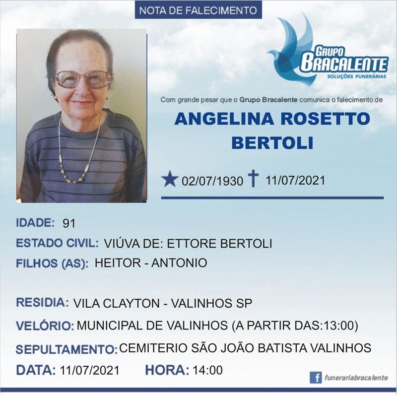 Angelina Rosetto Bertoli | 02/07/1930 - 11/07/2021
