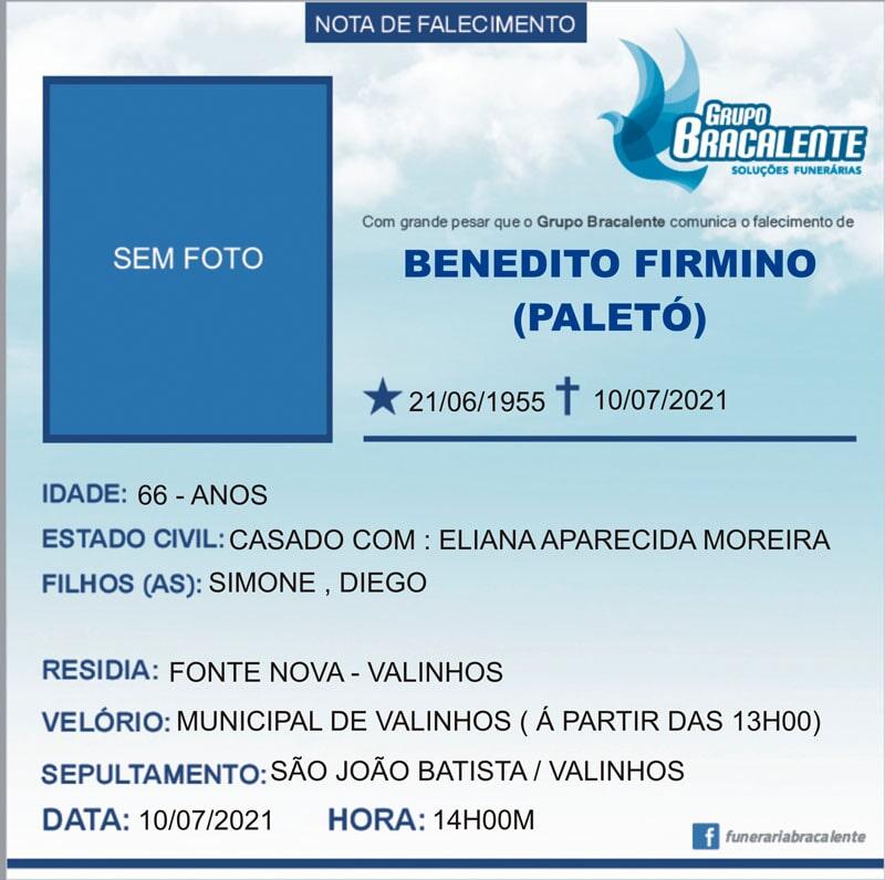 Benedito Firmino | 21/06/1955 - 10/07/2021