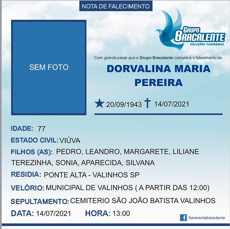 Dorvalina Maria Pereira | 20/09/1943 - 14/07/2021