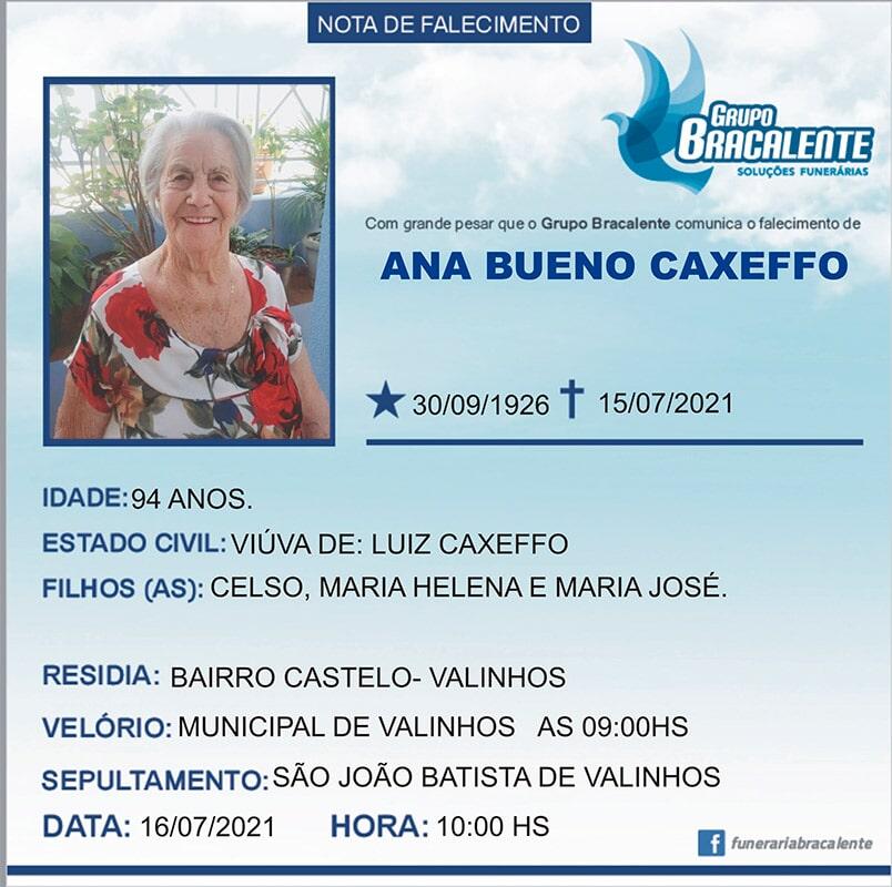 Ana Bueno Cafexo | 30/09/1926 - 15/07/2021