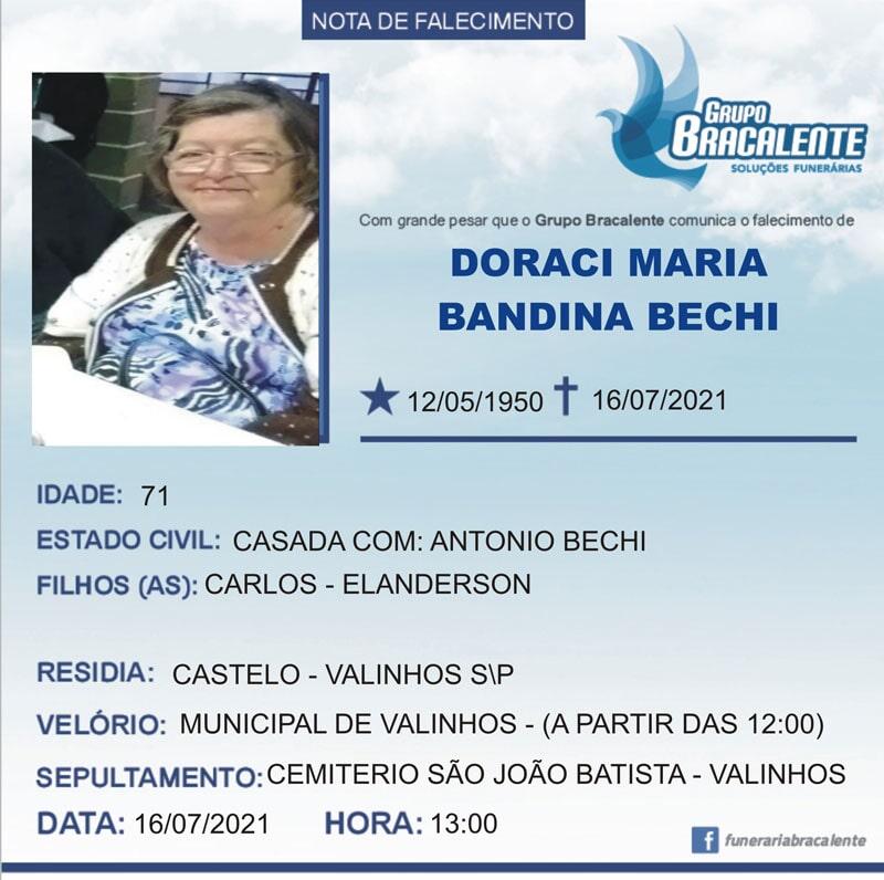 Doraci Maria Bandina bechi | 12/05/1950 - 16/07/2021