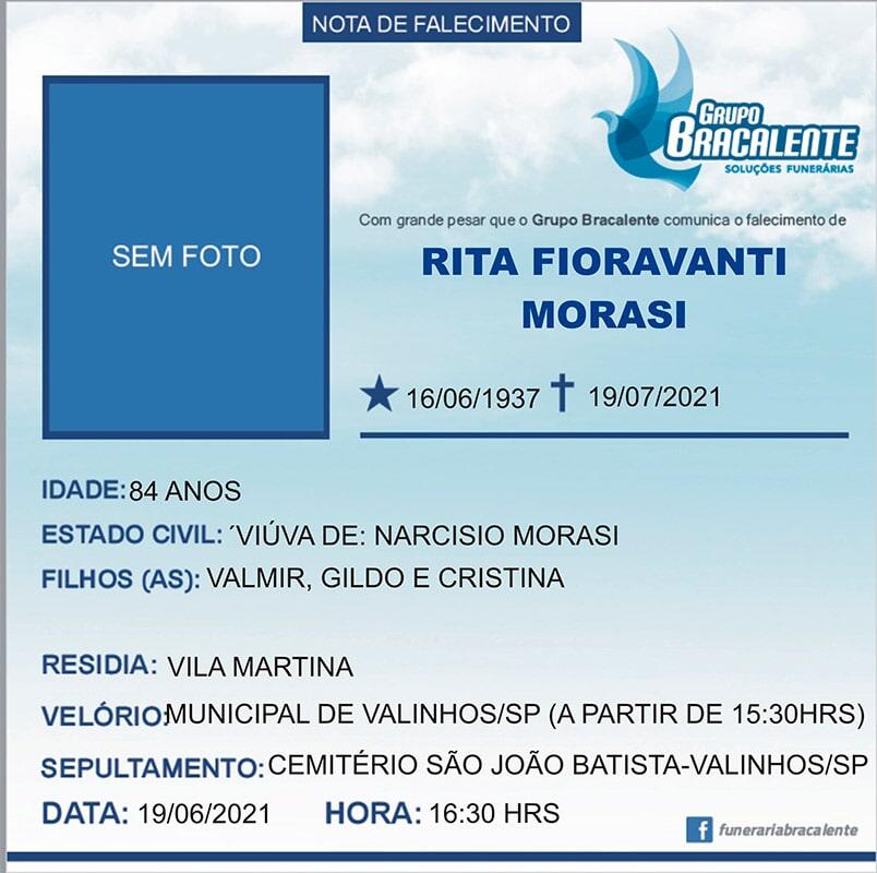 Rita Fioravanti Morasi | 16/16/1937 - 19/07/2021