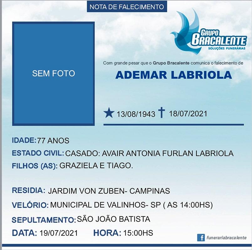 Ademar Labriola | 13/08/1943 - 18/07/2021