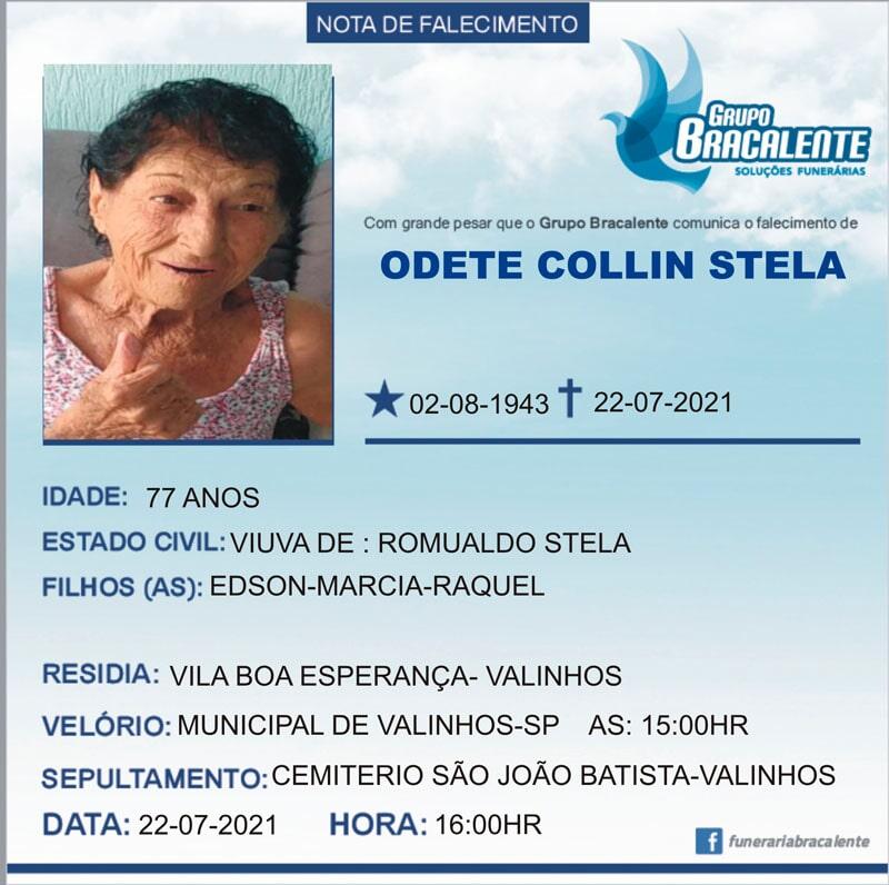 Odete Collin Stela | 02/08/1943 - 22/07/2021