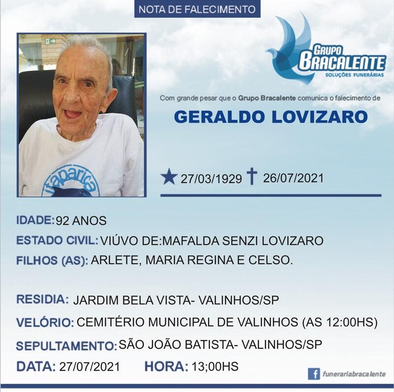 Geraldo Lovizaro | 27/03/1929 - 26/07/2021
