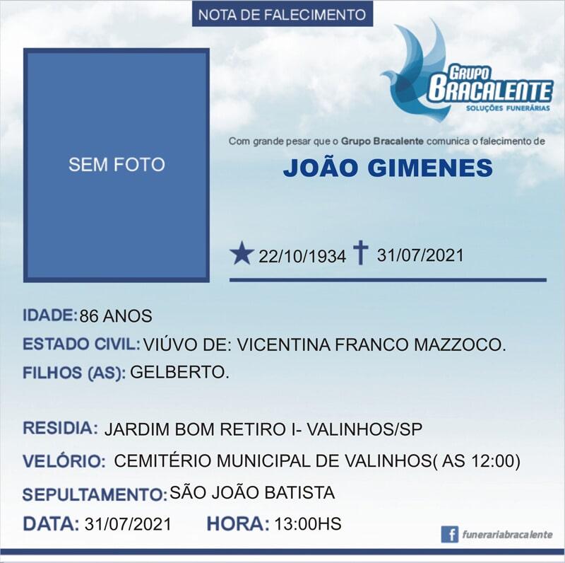 João Gimenes |22/10/1934 - 31/07/2021